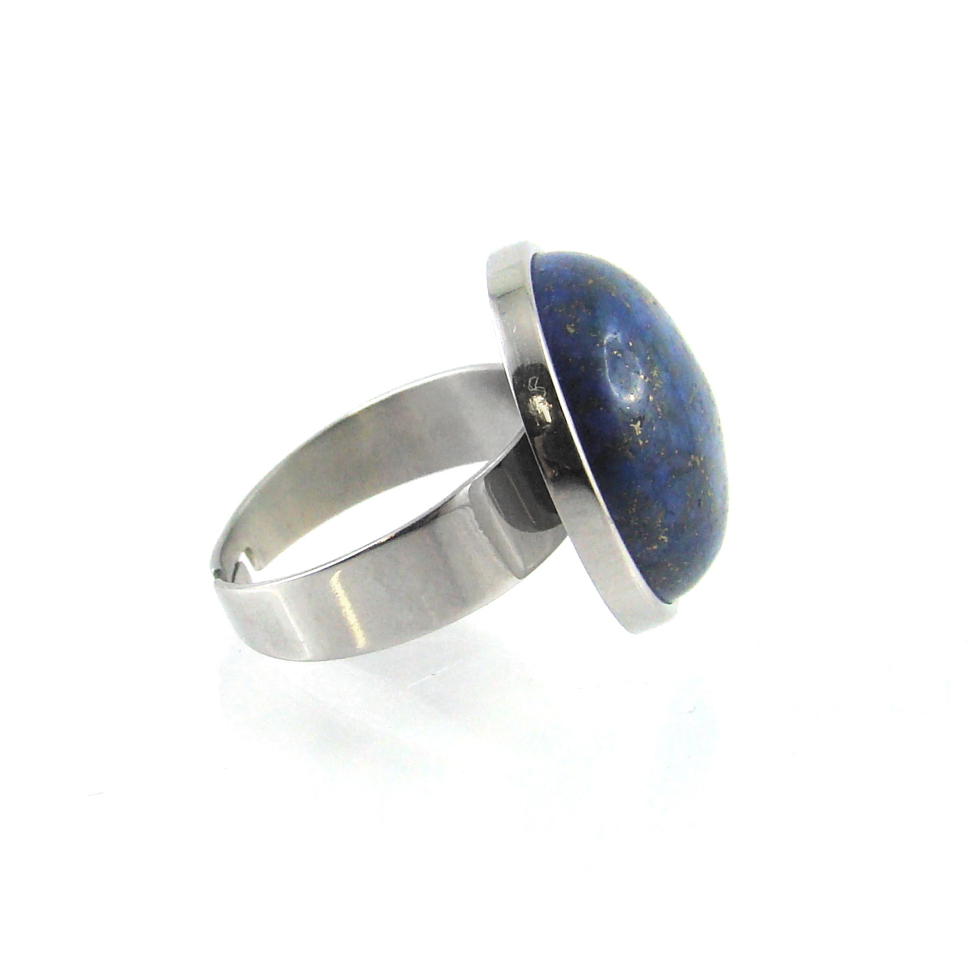 bague acier et lapis lazuli