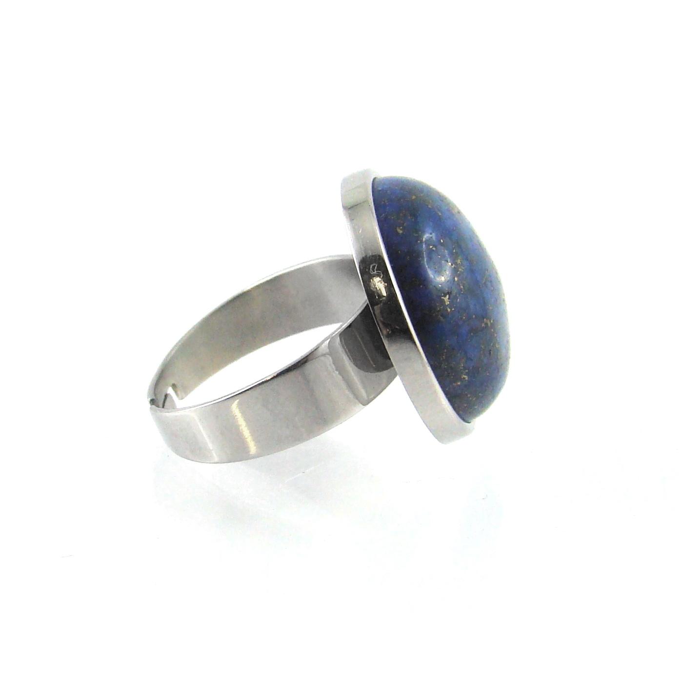 bague lapis lazuli cerclage inox - identites bijoux