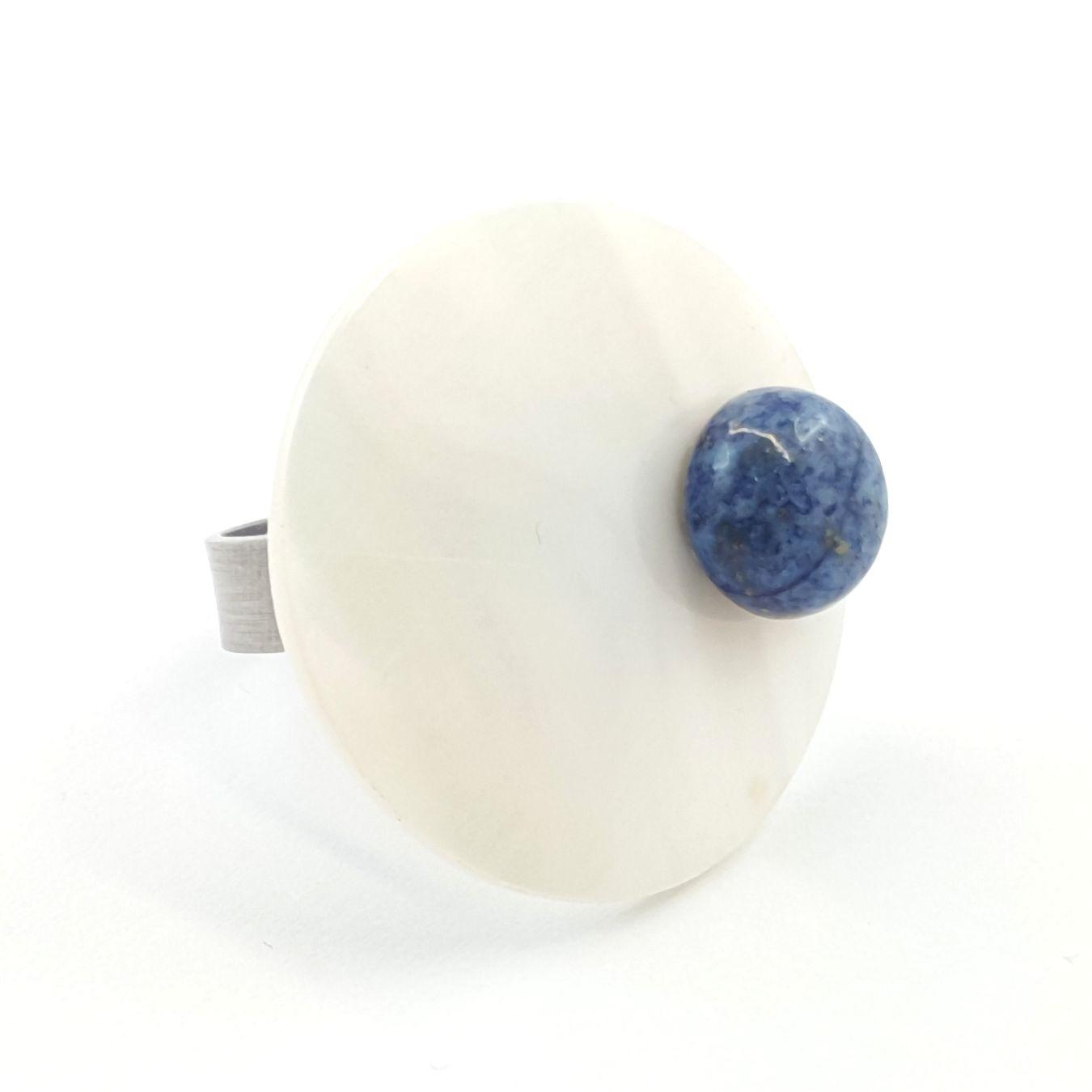 bague ronde nacre et lapis lazuli - identites bijoux