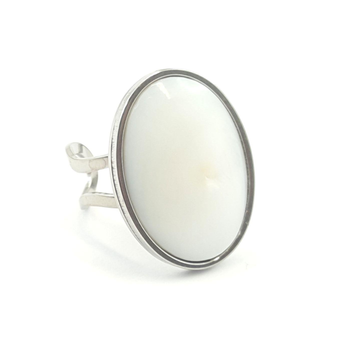 Bague ovale nacre et acier inox - identites bijoux