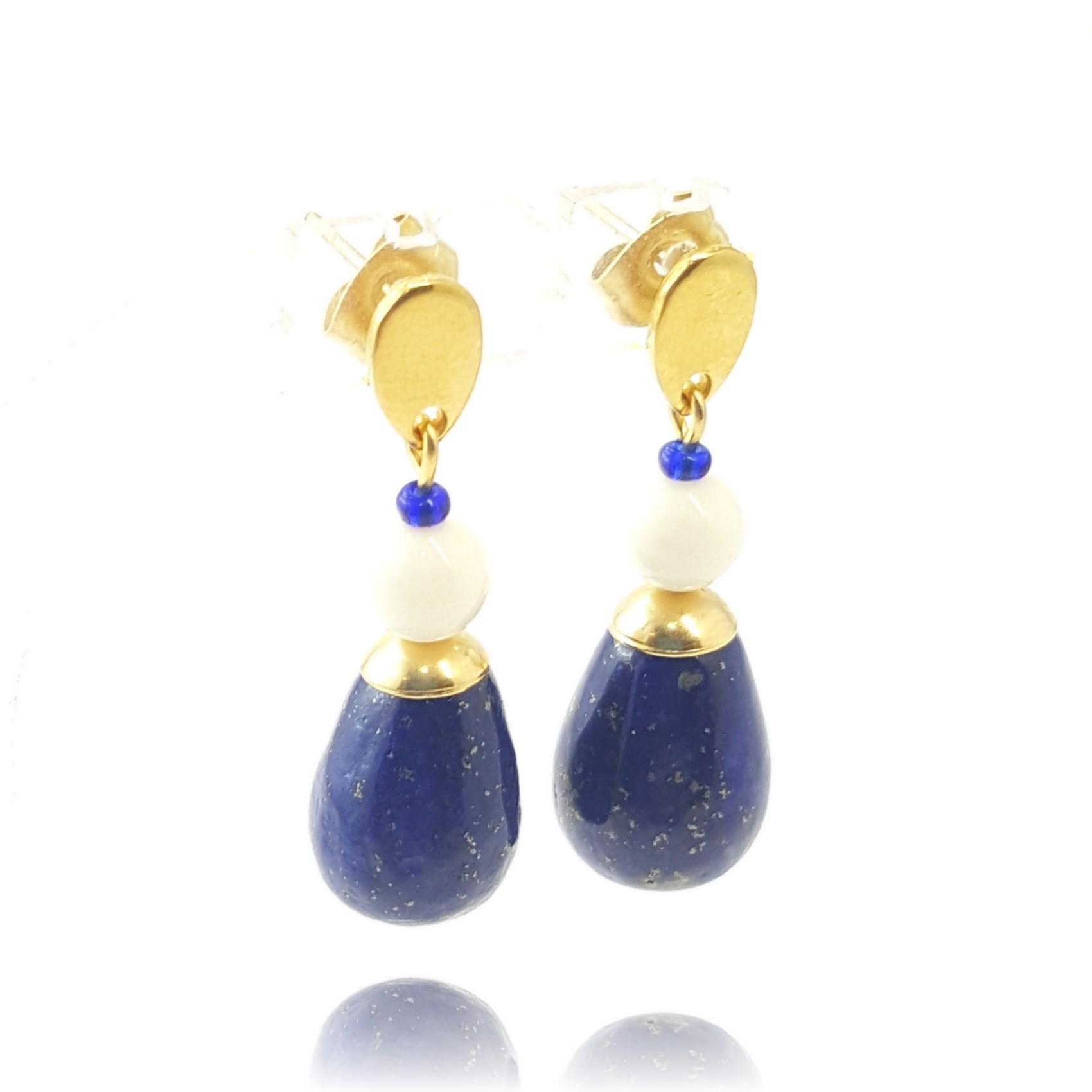 boucles d'oreilles lapis lazuli et acier doré - identites bijoux