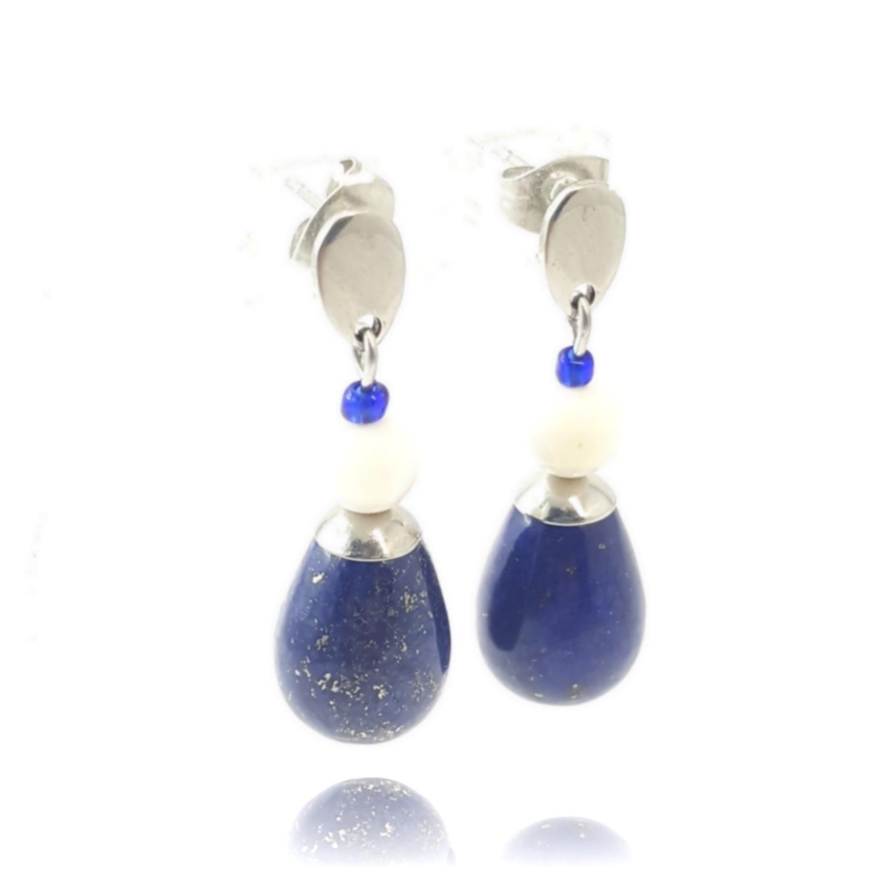 Boucles d'oreilles lapis lazuli et nacre - identités bijoux