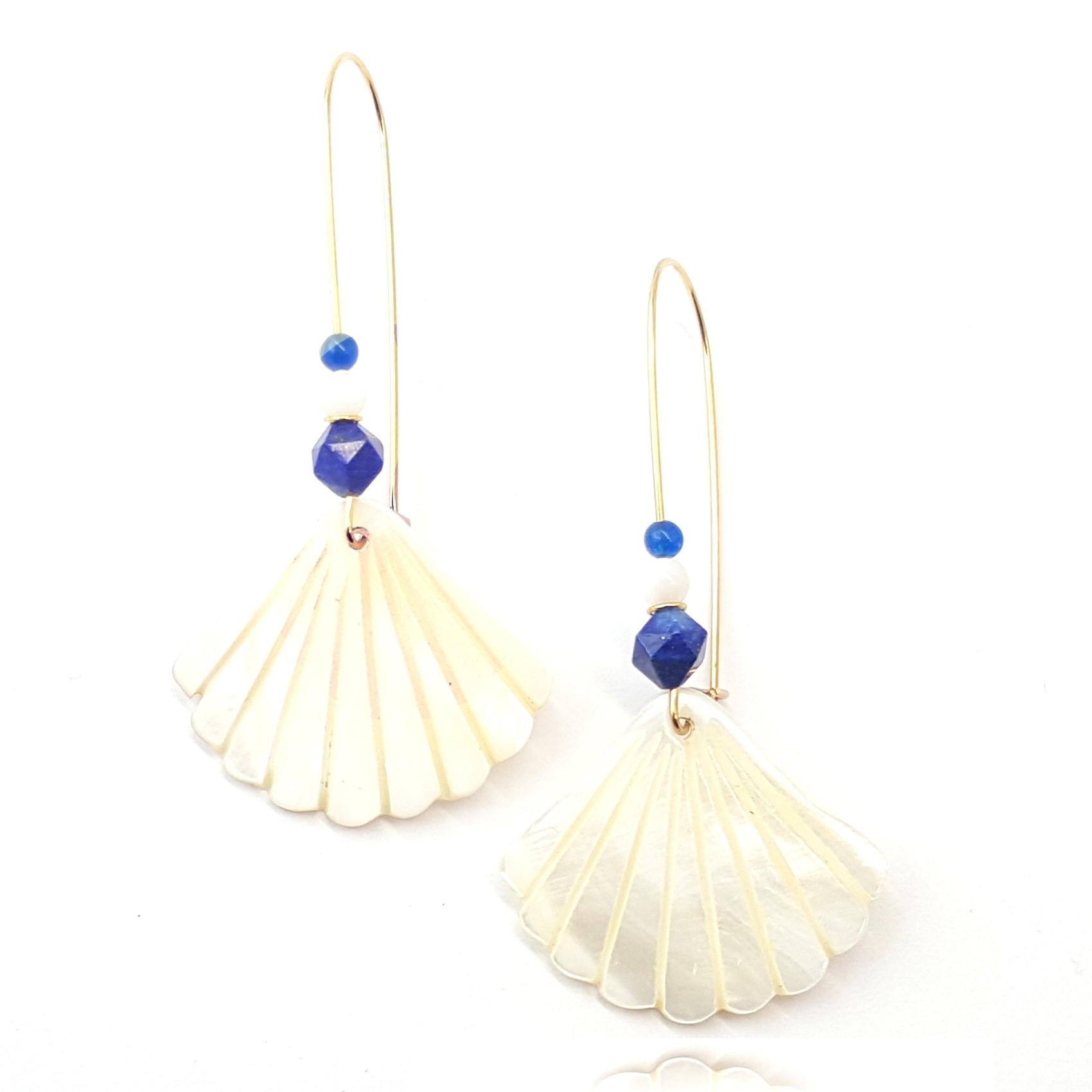 boucles d'oreilles coquille nacre et lapis lazuli - identites bijoux