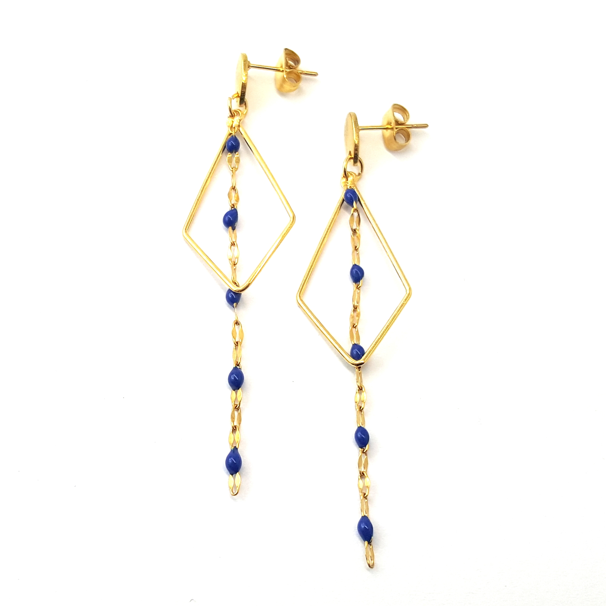 Boucles d'oreilles losange et chaîne émaillé bleu nuit