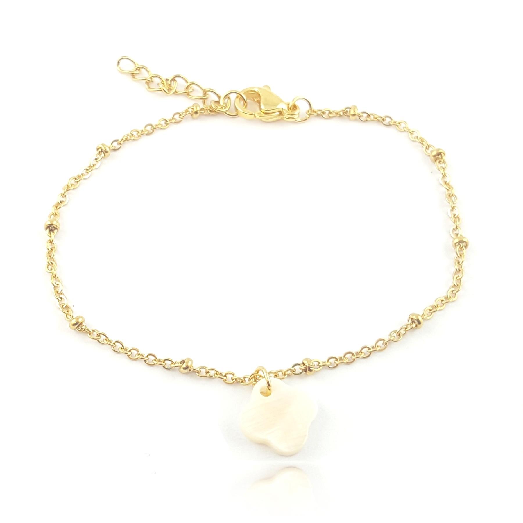 bracelet trèfle nacre - identités bijoux