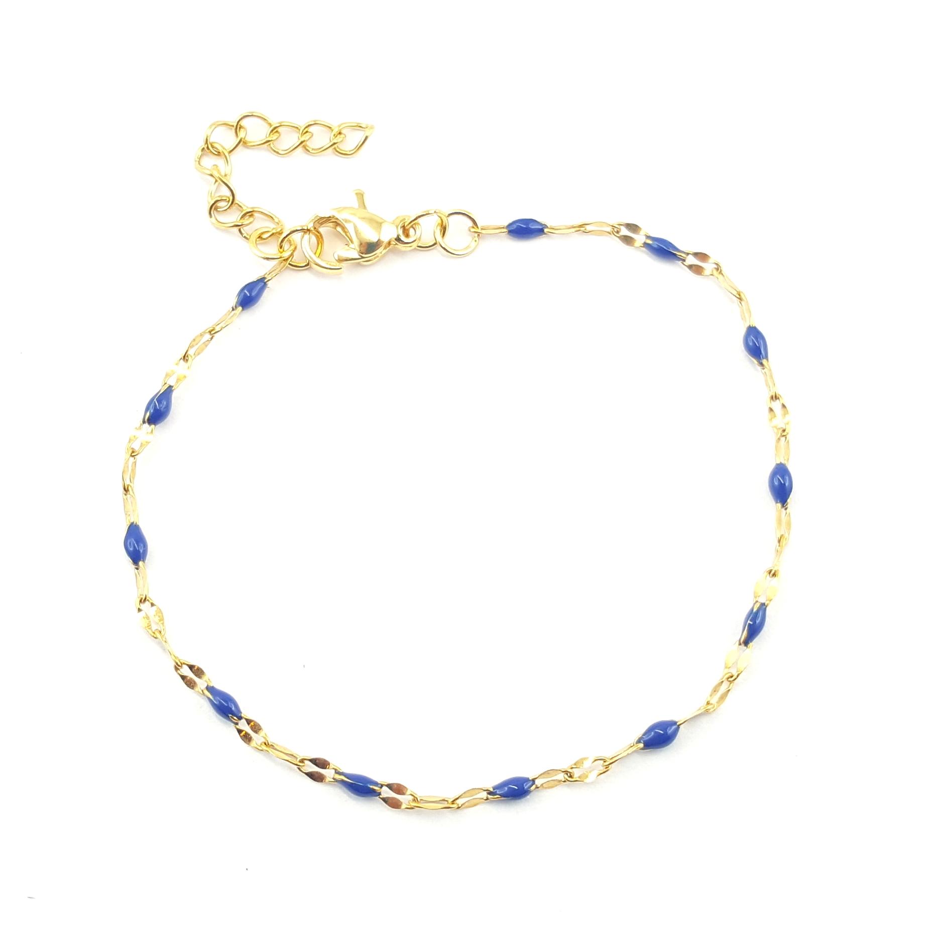 bracelet chaîne émaillé bleu nuit - identites bijoux