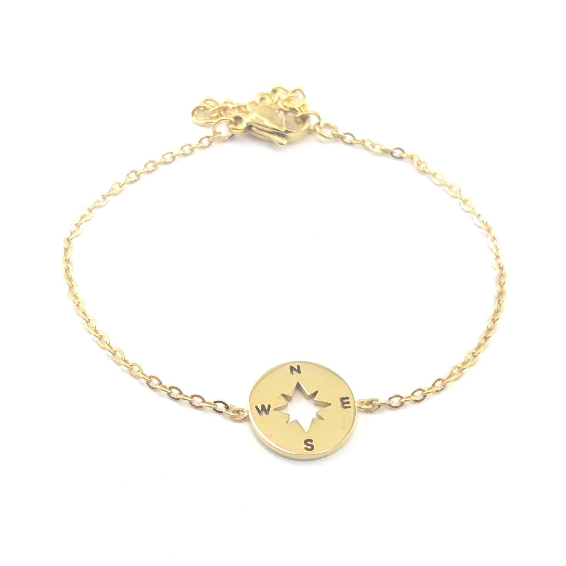 bracelet rose des vents doré - identites bijoux